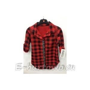 c92674ee114b31 Bluzka koszula w kratkę dziewczęca ocieplana (4-14) 1114-12